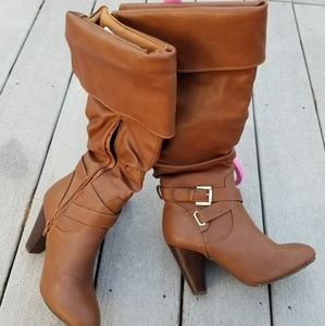 Rampage brown heeled boots with cuff and buckle 7